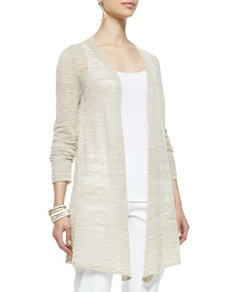 Boucle Stripe Cardigan, Natural, Women's