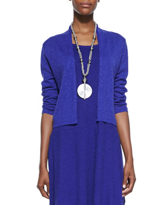 3/4-Sleeve Slub Cropped Cardigan & Organic Cotton/Hemp Twist Sleeveless Dress