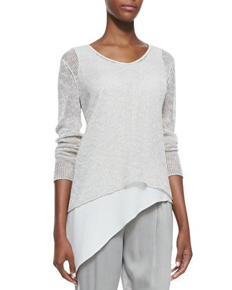 Airy Linen V-Neck Top, Women's