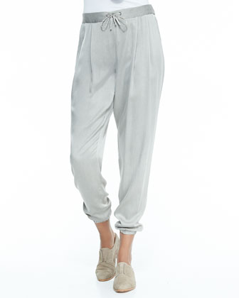 Silk Charmeuse Ankle Pants, Women's