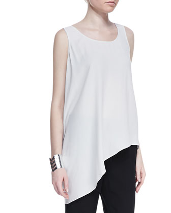Airy Linen V-Neck Top, Silk Asymmetric Draped Shell & Silk Charmeuse Ankle ...