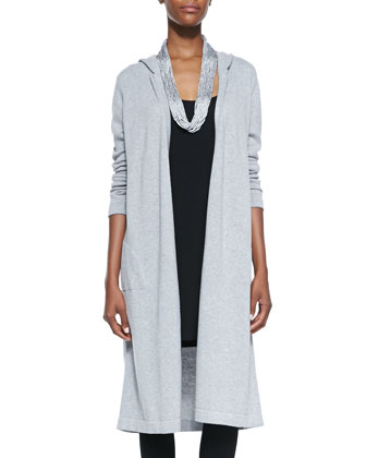 Hooded Long Organic Cotton Cardigan, Drapey Metallic Necklace & Viscose ...