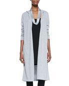 Hooded Long Organic Cotton Cardigan, Women's