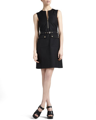 Belted Zip-Front Shirtdress