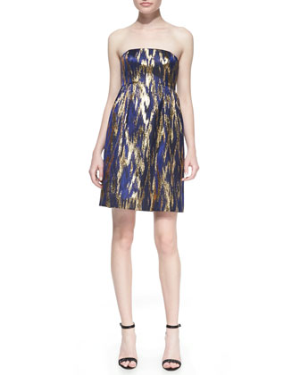Ikat Jacquard Strapless Shift Dress