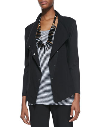 Snap-Front Stretch Jersey Jacket, Petite