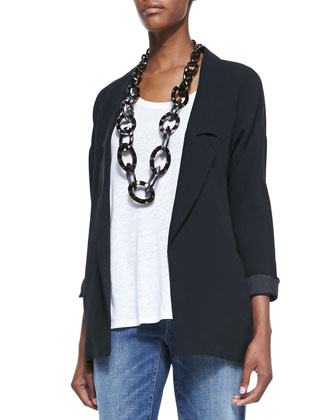 Long Silk Boyfriend Jacket, Petite