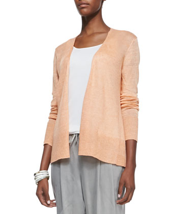 Linen Long Open Cardigan, Nectar, Petite