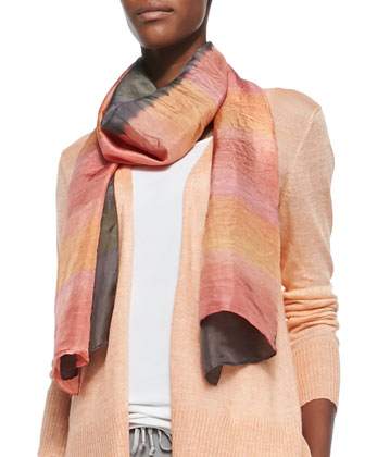 Painted Striped Silk Scarf
