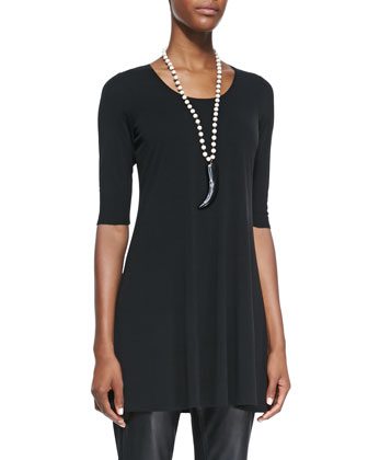 Half-Sleeve Silk Jersey Tunic, Women's