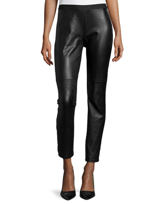 Ponte Leather-Blocked Leggings, Women's