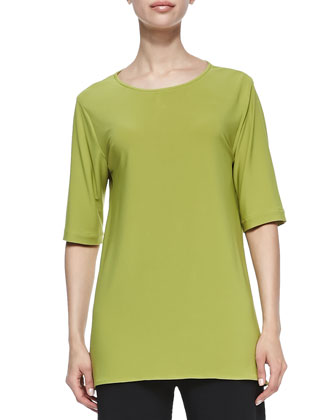 Stretch-Knit High-Low Tee, Petite