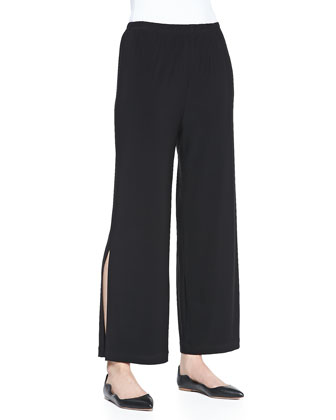 Stretch-Knit High-Low Tee & Wide-Leg Ankle Pants