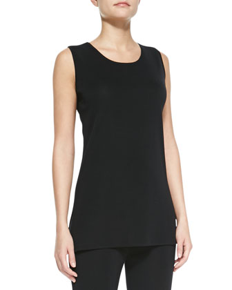 Sleeveless Long Tank, Black, Women's