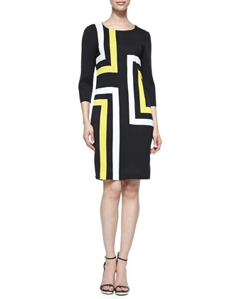 3/4-Sleeve Graphic Lines Dress, Petite