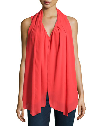 Sleeveless Crepe Scarf Top, Poppy