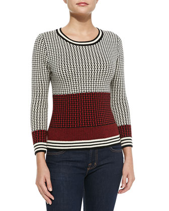 Microstitch-Print Knit Sweater