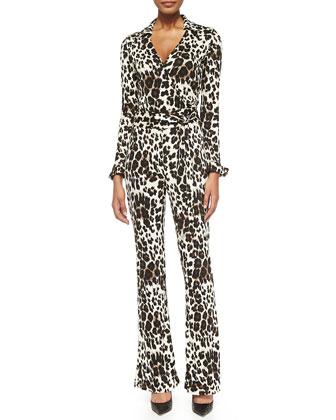Snow Cheetah-Print Wrap Jumpsuit