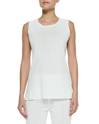 Sleeveless Long Tank, New Ivory, Women's