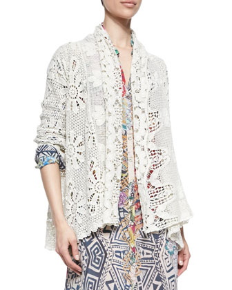 Crochet Cotton Coverup Cardigan, Shell, Women's