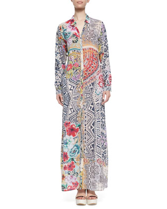 Crochet Cotton Coverup Cardigan & Radiant Printed Button-Front Maxi Shirtdress