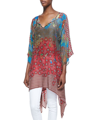 3/4-Sleeve Handkerchief-Hem Tunic, Women's