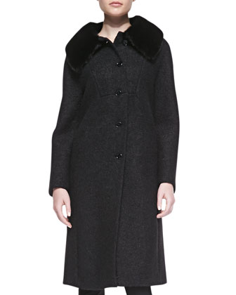 Boucle Coat with Mink Fur Collar