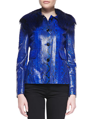 Python Jacket with Fox Fur Collar
