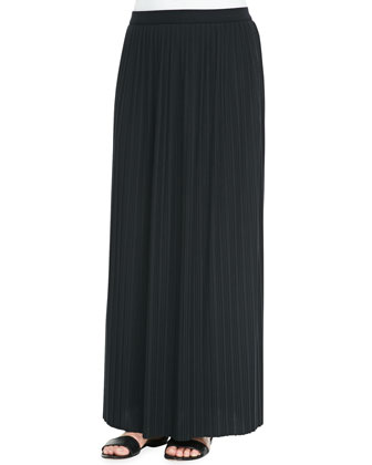 Long-Sleeve Striped Top & Long Pleated Skirt, Petite