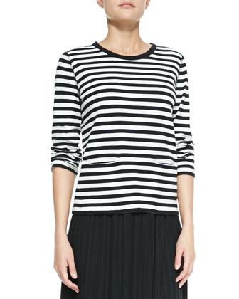 Long-Sleeve Striped Top & Long Pleated Skirt, Women's