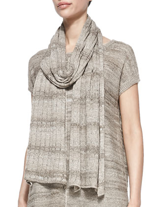 Short-Sleeve Linen-Blend Tunic, Scarf & Cropped Stretch-Jersey Leggings