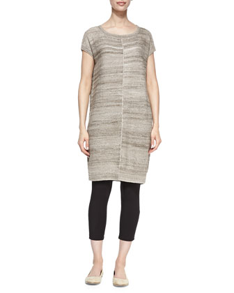 Short-Sleeve Linen-Blend Tunic, Scarf & Cropped Stretch-Jersey Leggings, Petite