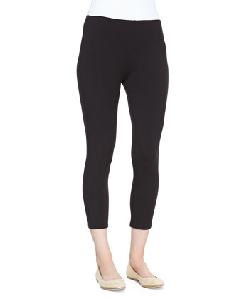 Cropped Stretch-Jersey Leggings, Black