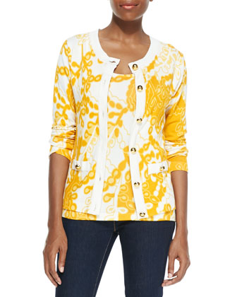 Printed Cardigan with Golden Buttons & Shell, Petite