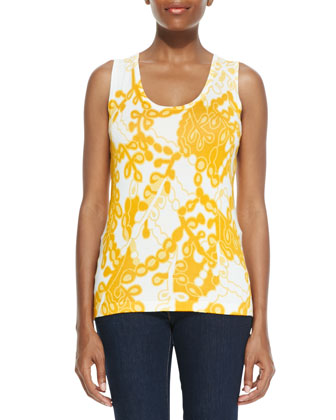 Printed Shell, Yellow Multi, Petite