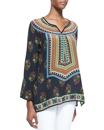 Zoe Printed Silk Tunic, Women's