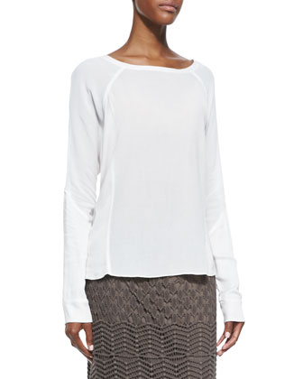 Long-Sleeve Crepe Blouse, Women's
