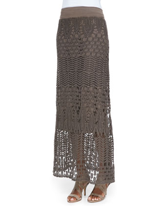Long-Sleeve Crepe Blouse & Cecilia Crochet Skirt, Women's