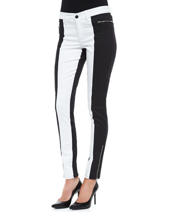Peace Colorblock Zip-Pocket Skinny Jeans, Black/White