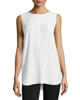 Draped-Back Sleeveless Top, Talc
