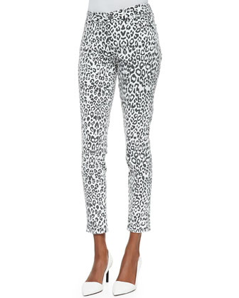 Wisdom Skinny Ankle Jeans, Snow Leopard Print