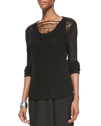 Fisher Project Nubble-Knit Long-Sleeve Top