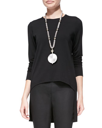 Jewel-Neck High-Low Jersey Top & Coated Denim Leggings