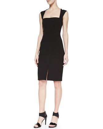 Square-Neck Sheath Dress With Front Slit