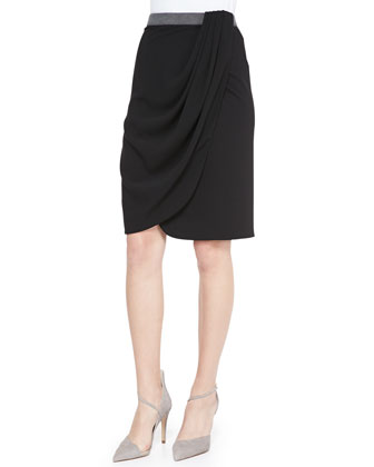 Long-Sleeve Shawl Collar Blouse & Draped Faux-Wrap Jersey Skirt