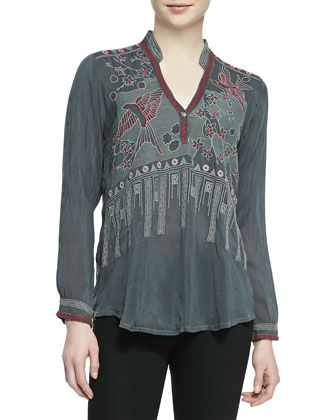 KoKo Embroidered Silk Blouse