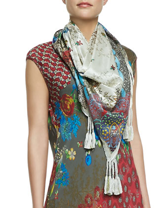 Jace Printed Silk Scarf, Lacy Crochet Jacket & Vintage Georgette V-Neck Top ...
