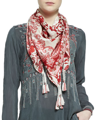 KoKo Embroidered Silk Blouse & Igory Lisa Printed Silk Scarf