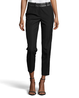 Pleated Leather-Waist Trousers, Black