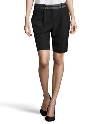 Pleated Leather-Waist Bermuda Shorts